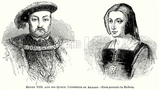 Henry VIII and his Queen, Catherine of Aragon. Illustration from The Comprehensive History of England (Gresham Publishing, 1902).