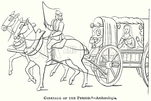 Carriage of the Period. – Archaeologia. Illustration from The Comprehensive History of England (Gresham Publishing, 1902).