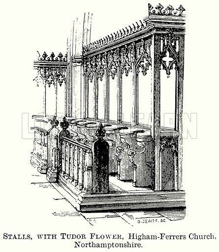 Stalls, with Tudor Flower, Higham-Ferrers Church, Northamptonshire. Illustration from The Comprehensive History of England (Gresham Publishing, 1902).