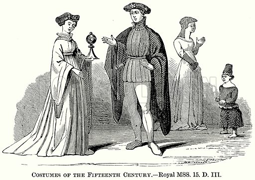 Costumes of the Fifteenth Century. Illustration from The Comprehensive History of England (Gresham Publishing, 1902).