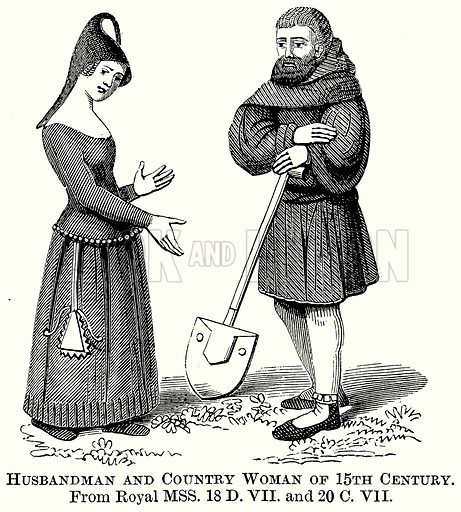 Husbandman and Country Woman of 15th Century. Illustration from The Comprehensive History of England (Gresham Publishing, 1902).