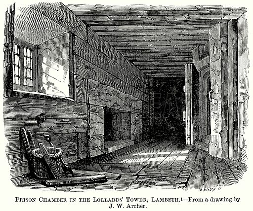 Prison Chamber in the Lollards' Tower, Lambeth. Illustration from The Comprehensive History of England (Gresham Publishing, 1902).