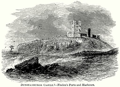 Dunstanburgh Castle. – Finden's Ports and Harbours. Illustration from The Comprehensive History of England (Gresham Publishing, 1902).