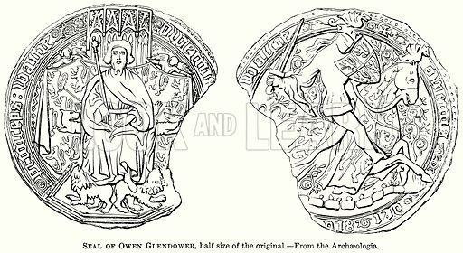 Seal of Owen Glendower, Half Size of the Original. Illustration from The Comprehensive History of England (Gresham Publishing, 1902).