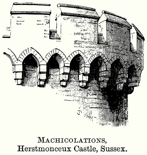 Machicolations, Herstmonceux Castle, Sussex. Illustration from The Comprehensive History of England (Gresham Publishing, 1902).