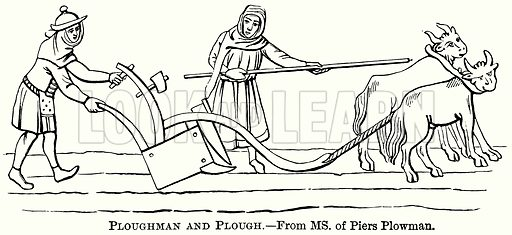 Ploughman and Plough. Illustration from The Comprehensive History of England (Gresham Publishing, 1902).