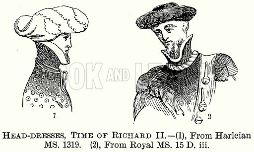 Head-Dresses, Time of Richard II. Illustration from The Comprehensive History of England (Gresham Publishing, 1902).