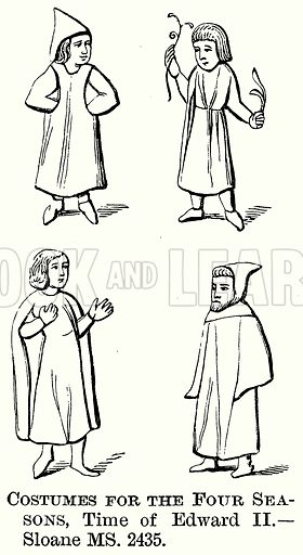 Costumes for the Four Seasons, Time of Edward II. Illustration from The Comprehensive History of England (Gresham Publishing, 1902).