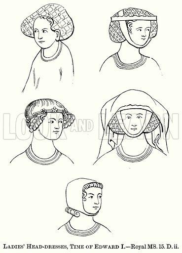 Ladies' Head-Dresses, Time of Edward I. Illustration from The Comprehensive History of England (Gresham Publishing, 1902).