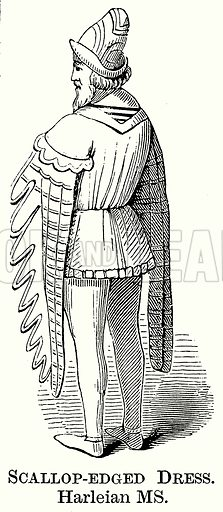 Scalloop-Edged Dress. Illustration from The Comprehensive History of England (Gresham Publishing, 1902).