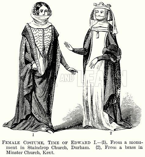 Female Costume, Time of Edward I. Illustration from The Comprehensive History of England (Gresham Publishing, 1902).