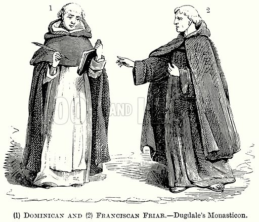 (1) Dominican and (2) Franciscan Friar. – Dugdale's Monasticon. Illustration from The Comprehensive History of England (Gresham Publishing, 1902).