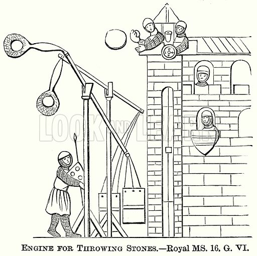 Engine for Throwing Stones. Illustration from The Comprehensive History of England (Gresham Publishing, 1902).