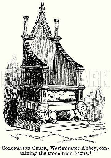 Coronation Chair, Westminster Abbey, Containing the Stone from Scone. Illustration from The Comprehensive History of England (Gresham Publishing, 1902).