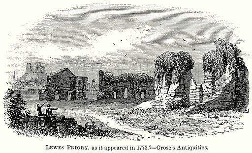 Lewis Priory, as it appeared in 1773. – Grose's Antiquities. Illustration from The Comprehensive History of England (Gresham Publishing, 1902).