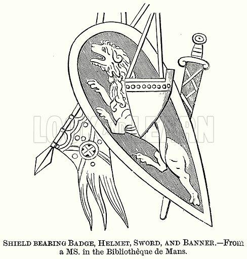 Shield Bearing Badge, Helmet, Sword, and Banner. Illustration from The Comprehensive History of England (Gresham Publishing, 1902).