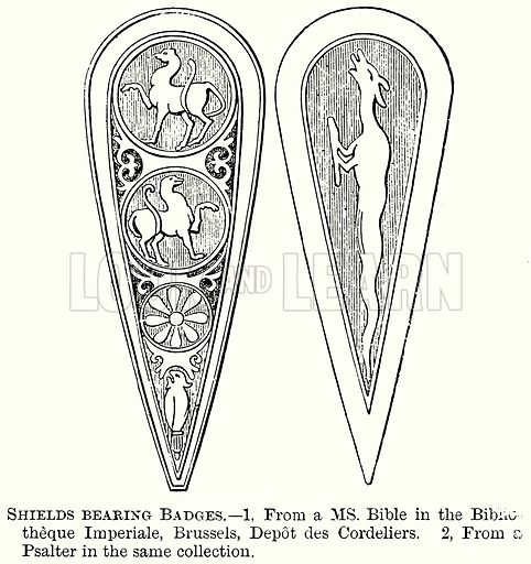 Shields Bearing Badges. Illustration from The Comprehensive History of England (Gresham Publishing, 1902).