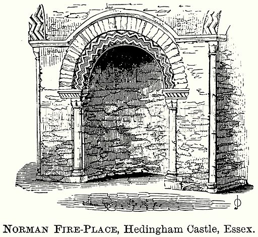Norman Fire-Place, Hedingham Castle, Essex. Illustration from The Comprehensive History of England (Gresham Publishing, 1902).