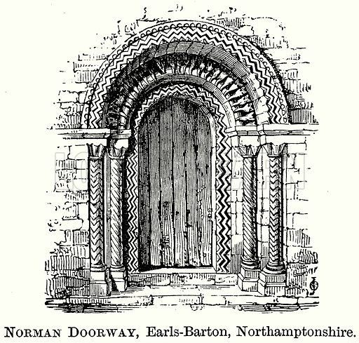 Norman Doorway, Earls-Barton, Northamptonshire. Illustration from The Comprehensive History of England (Gresham Publishing, 1902).