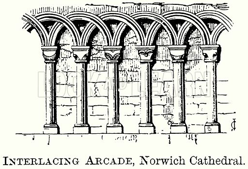 Interlacing Arcade, Norwich Cathedral. Illustration from The Comprehensive History of England (Gresham Publishing, 1902).