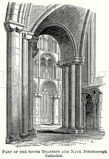 Part of the South Transept and Nave, Peterborough Cathedral. Illustration from The Comprehensive History of England (Gresham Publishing, 1902).