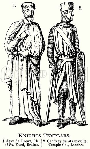 Knights Templars. 1. Jean de Dreux, Ch of St Yved, Braine. 2. Geoffrey de Magnaville, Temple Ch London. Illustration from The Comprehensive History of England (Gresham Publishing, 1902).