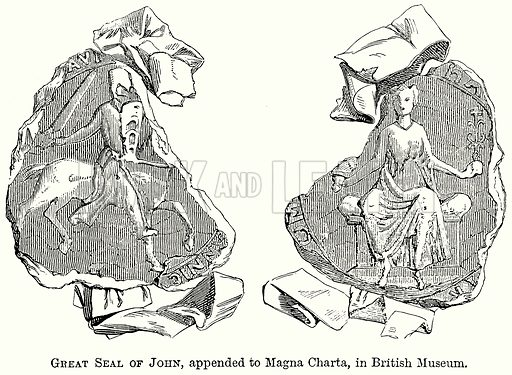 Great Seal of John, Appended to Magna Charta, in British Museum. Illustration from The Comprehensive History of England (Gresham Publishing, 1902).