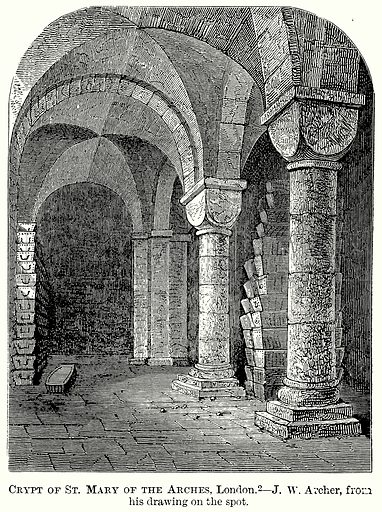 Crypt of St Mary of the Arches, London. Illustration from The Comprehensive History of England (Gresham Publishing, 1902).