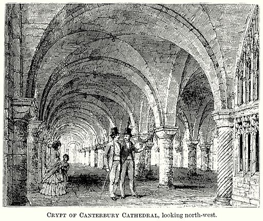 Crypt of Canterbury Cathedral, looking North-West. Illustration from The Comprehensive History of England (Gresham Publishing, 1902).