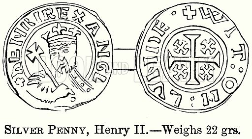 Silver Penny, Henry II. – Weighs 22 grs. Illustration from The Comprehensive History of England (Gresham Publishing, 1902).