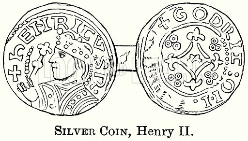 Silver Coin, Henry II. Illustration from The Comprehensive History of England (Gresham Publishing, 1902).