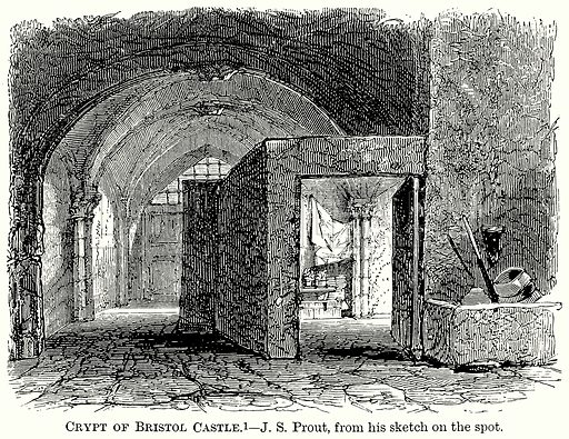 Crypt of Bristol Castle. Illustration from The Comprehensive History of England (Gresham Publishing, 1902).