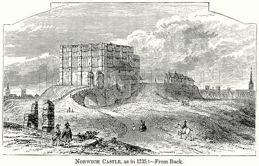 Norwich Castle, as in 1735. Illustration from The Comprehensive History of England (Gresham Publishing, 1902).