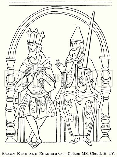 Saxon King and Eolderman. Illustration from The Comprehensive History of England (Gresham Publishing, 1902).