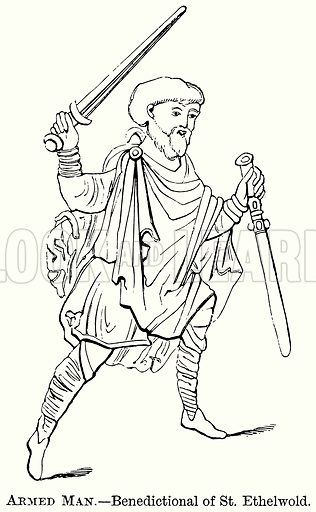 Armed Man. – Benedictional of St Ethelwold. Illustration from The Comprehensive History of England (Gresham Publishing, 1902).