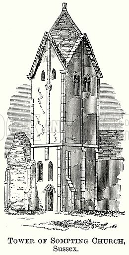 Tower of Sompting Church, Sussex. Illustration from The Comprehensive History of England (Gresham Publishing, 1902).