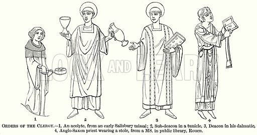 Orders of the Clergy. – 1, An Acolyte, from an Early Salisbury Missal; 2, Sub-Deacon in a Tunicle, 3, Deacon in his Dalmatic, 4, Anglo-Saxon Priest Wearing a Stole, from a MS in Public Library, Rouen. Illustration from The Comprehensive History of England (Gresham Publishing, 1902).