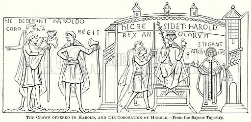 The Crown offered to Harold, and the Coronation of Harold. Illustration from The Comprehensive History of England (Gresham Publishing, 1902).