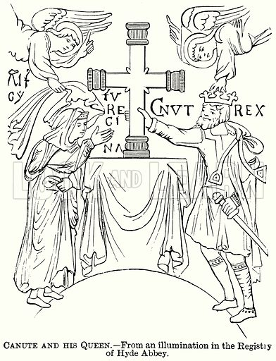 Canute and his Queen. Illustration from The Comprehensive History of England (Gresham Publishing, 1902).