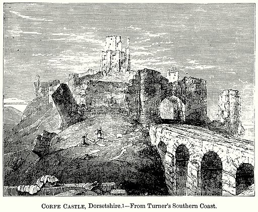 Corfe Castle, Dorsetshire. Illustration from The Comprehensive History of England (Gresham Publishing, 1902).