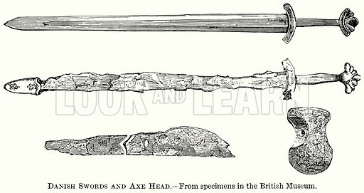 Danish Swords and Axe Head. Illustration from The Comprehensive History of England (Gresham Publishing, 1902).