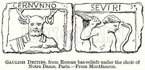 Gaulish Deities, from Roman Bas-Reliefs under the Choir of Notre Dame, Paris. Illustration from The Comprehensive History of England (Gresham Publishing, 1902).