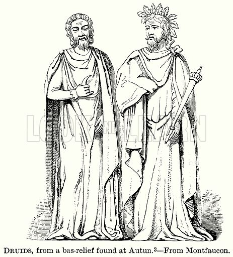 Druids, from a Bas-Relief found at Autun. Illustration from The Comprehensive History of England (Gresham Publishing, 1902).