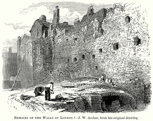 Remains of the Walls of London. Illustration from The Comprehensive History of England (Gresham Publishing, 1902).