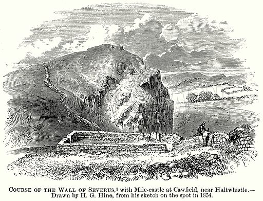 Course of the Wall of Severus, with Mile-Castle at Cawfield, near Haltwhistle. Illustration from The Comprehensive History of England (Gresham Publishing, 1902).