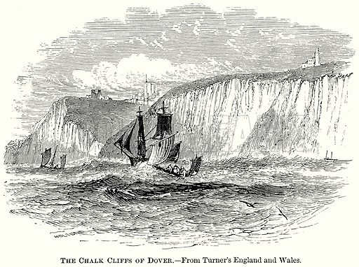 The Chalk Cliffs of Dover. Illustration from The Comprehensive History of England (Gresham Publishing, 1902).