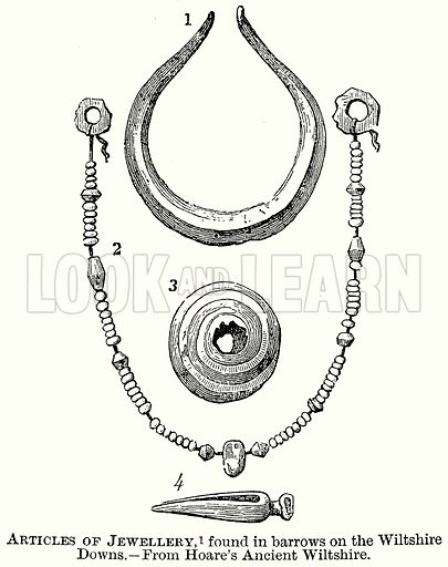 Articles of Jewellery, found in Barrows on the Wiltshire Downs. Illustration from The Comprehensive History of England (Gresham Publishing, 1902).