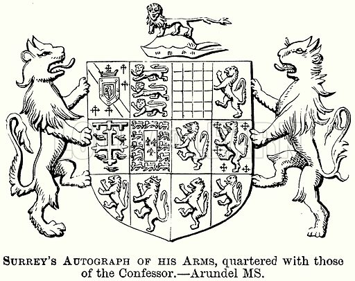 Surrey's Autograph of his Arms, Quartered with those of the Confessor. Illustration from The Comprehensive History of England (Gresham Publishing, 1902).
