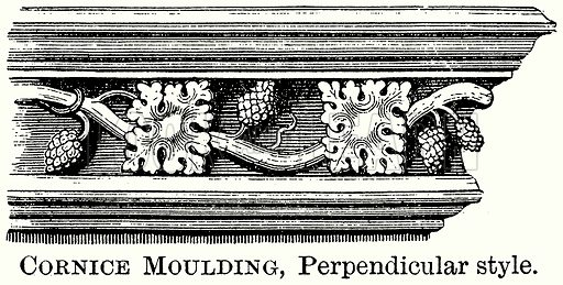 Cornice Moulding, Perpendicular Style. Illustration from The Comprehensive History of England (Gresham Publishing, 1902).