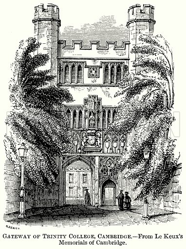 Gateway of Trinity College, Cambridge. Illustration from The Comprehensive History of England (Gresham Publishing, 1902).